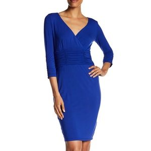 Nue by Shani Blue Surplice Ruched Knit Dress